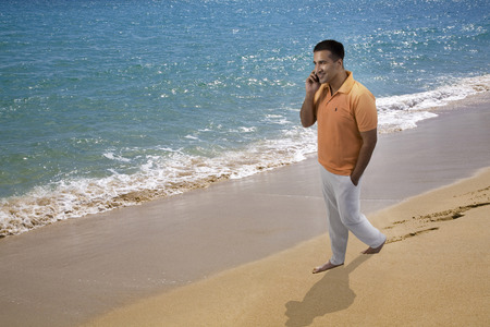 Man talking on the beach