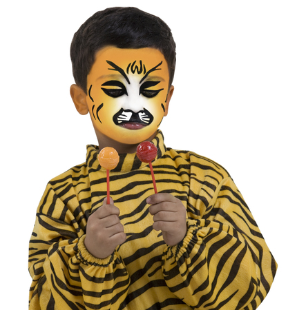 pretending: Boy in a tiger costume holding two lollipops Stock Photo