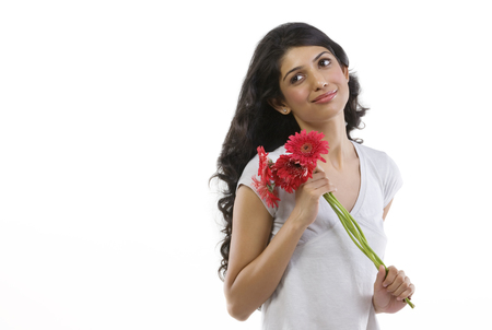 Portrait of a girl with flowers Stock Photo