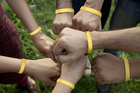 wristbands: Hands with wristbands