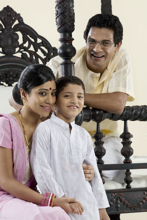 front house: Portrait of a Bengali family Stock Photo