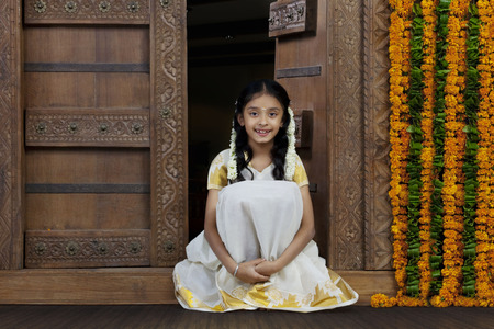 gajra: Portrait of a South Indian girl Stock Photo