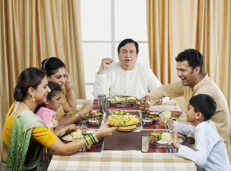 Gujarati family having lunch 版權商用圖片 - 80594698