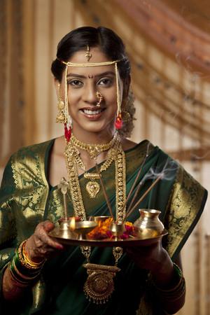 marathi: Beautiful Maharashtrian bride smiling Stock Photo