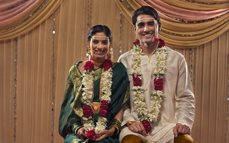 nose ring: Just married Maharashtrian couple