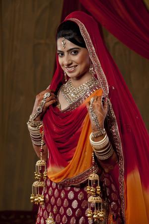 bride bangle: Portrait of beautiful bride smiling