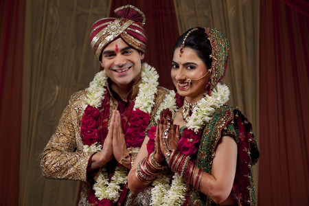 Couple greeting on their weeding day Stock Photo