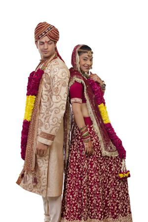 bride bangle: Portrait of a Gujarati bride and groom