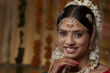 gajra: Portrait of traditional Indian woman smiling