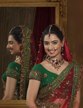 nose ring: Portrait of smiling bride