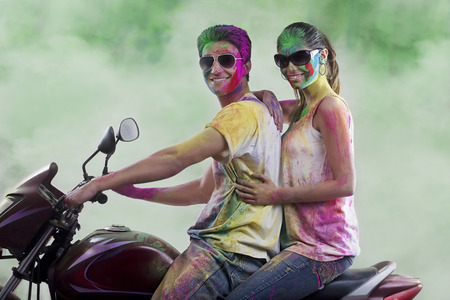 Couple posing on a motorcycle Stock Photo