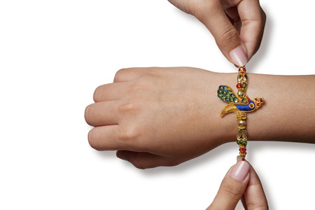 Rakhi on a boys hand
