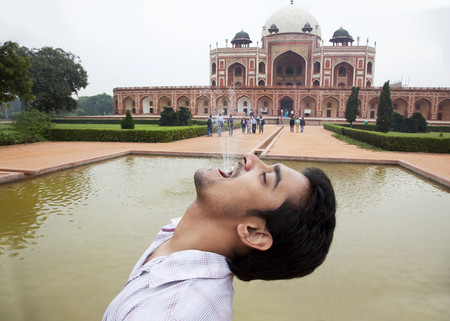 Boy posing at Humayuns Tomb