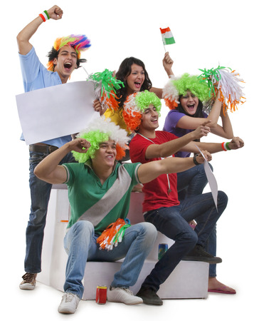 joyfulness: Youngsters with wigs cheering