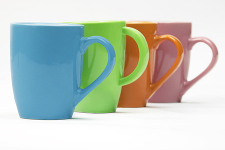 cup four: Colourful mugs in a row