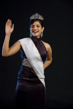 pageant: Beauty pageant winner waving Stock Photo