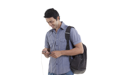 mp3: Smiling young man listening to music