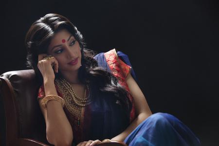 bride bangle: A beautiful bride sitting