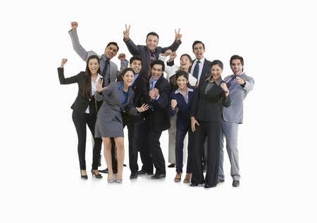 well dressed: Business executives cheering