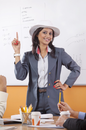 umpiring: Portrait of female executive umpiring Stock Photo