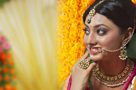 Side profile of a beautiful bride smiling