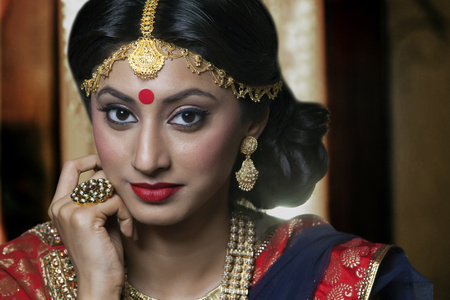Portrait of a beautiful bride with jewelery Stock Photo