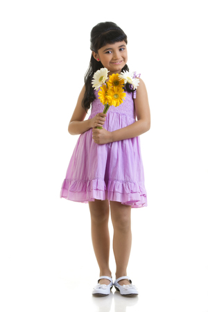 toothy: Girl holding flowers
