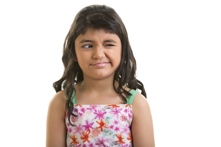 Girl with fussy expression Stock Photo