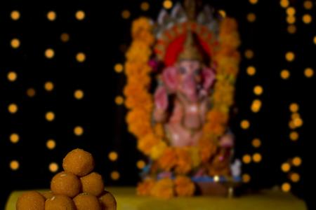 Laddus and Ganesh idol