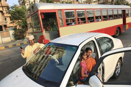 Maharashtrian family in the city Stock Photo