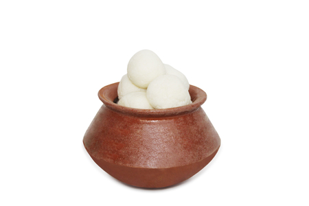 Rasgulla in a pot