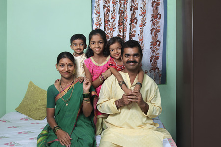 Portrait of a Maharashtrian family Stock Photo