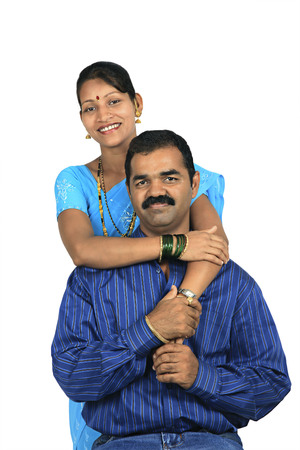 toothy: Portrait of a Maharashtrian couple Stock Photo