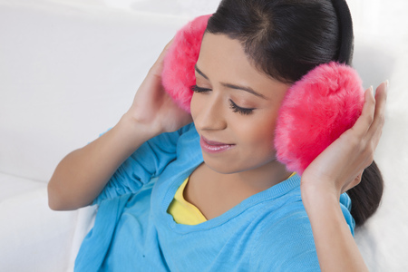 ear muffs: Girl with ear muffs