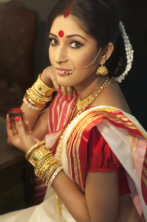 Portrait of Bengali woman with sindoor