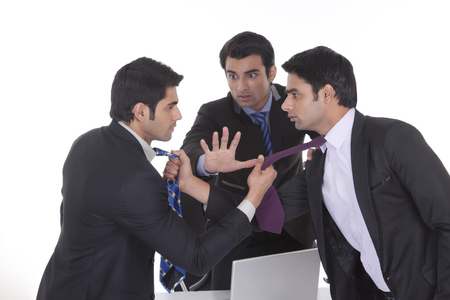 intervening: Businessmen getting into a fight