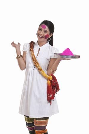 Portrait of a WOMEN with holi colour