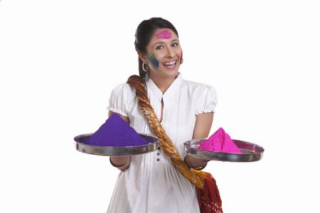 robo: Portrait of a WOMEN with holi colours Foto de archivo