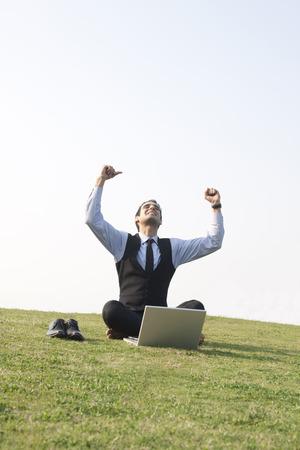 to rejoice: Businessman rejoicing, INDIA, DELHI
