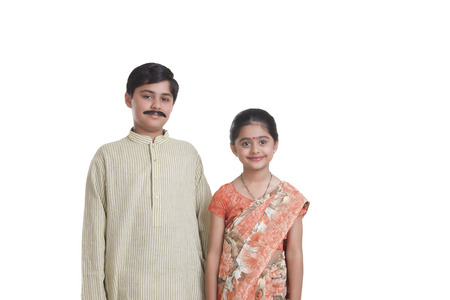 sutra: Portrait of kids dressed as husband and wife