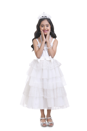 prom queen: Portrait of girl dressed as prom queen Stock Photo