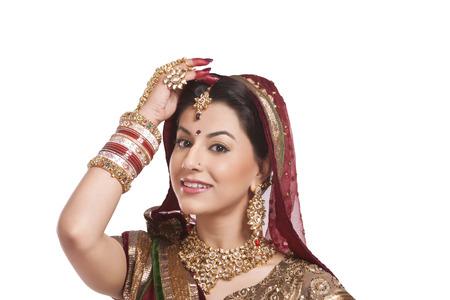 Portrait of a beautiful bride smiling