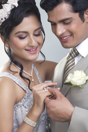 christian marriage: Portrait of a Bride and Bridegroom Stock Photo