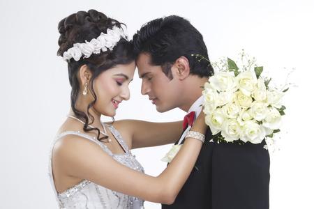 Portrait of a Bride and Bridegroom Stock Photo