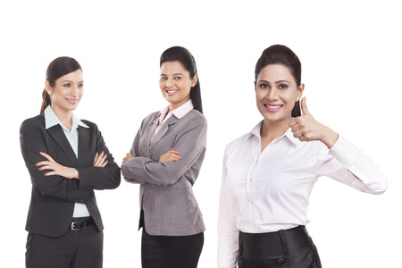looking away from camera: Portrait of young business women Stock Photo