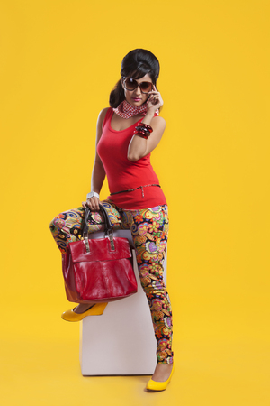 Portrait of retro woman with hand bag