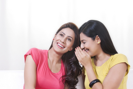 giggling: Portrait of young women