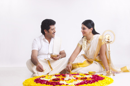 Couple celebrating Onam