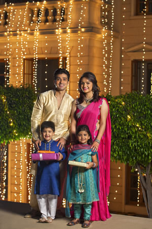 Portrait of family celebrating Diwali