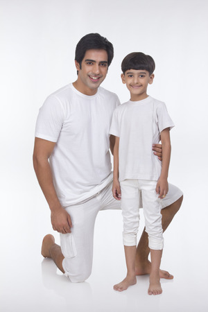 front view: Portrait of father and son